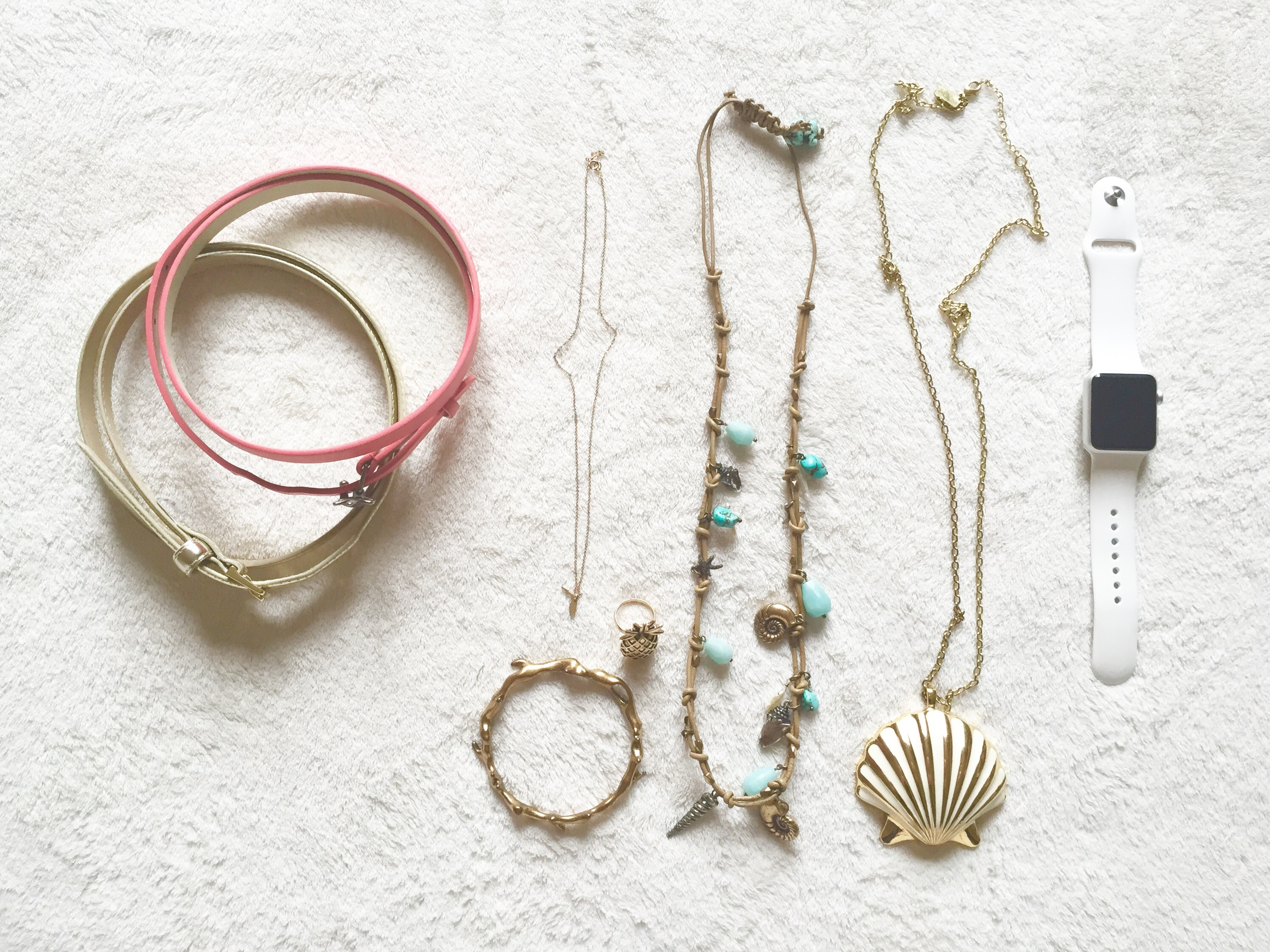 Coral Belt – Target  Gold Belt – Target  Charm Necklace – Dogeared  Gold  Bracelet – Lucky Brand  Pineapple Ring – Old Navy  Turquiose Charm  Necklace
